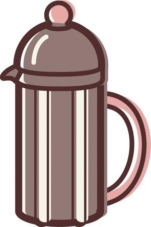 フランスのコーヒー プレスのイラスト
