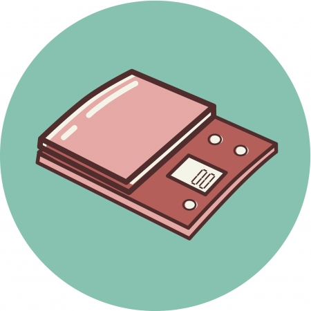Illustration of a scale on a blue background Stock Photo