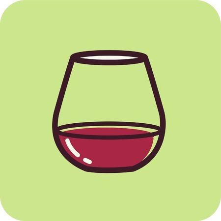 茎のない杯のワインのイラスト 写真素材