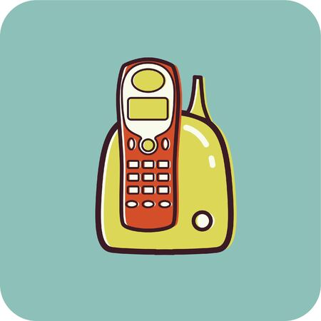 Illustration of a cordless phone on a blue background illustration