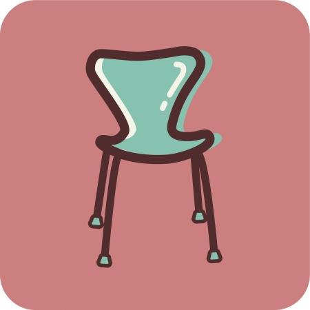 ピンクの backtround のモダンな椅子のイラスト