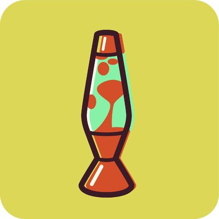 Illustration of a lava lamp on a yellow background