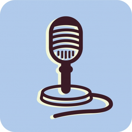 Illustration of a microphone on a blue background