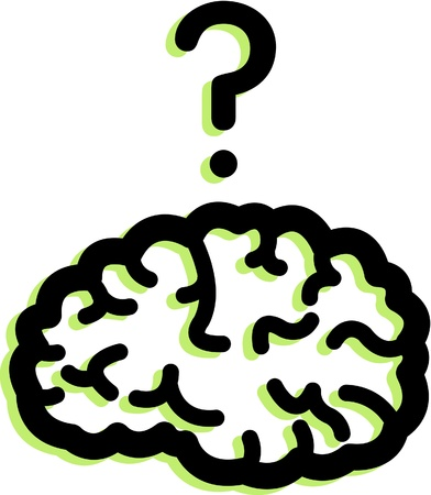 brain illustration: Illustration of a brain and a question mark