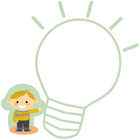 An illustration of a boy pointing to a light bulb illustration