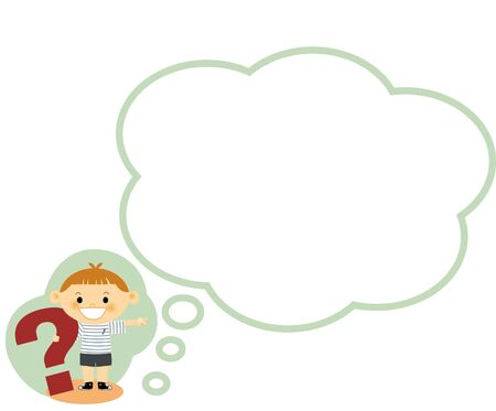 thoughtfulness: Illustration of a boy standing next to a thought bubble Stock Photo