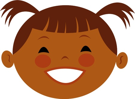 children only: Illustration of a girl with pig tails Stock Photo