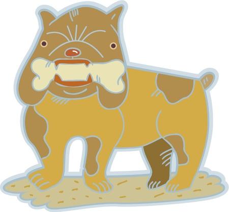 terrestrial mammals: A British bulldog holding a bone in his teeth Stock Photo