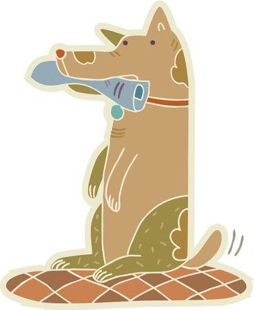 newspaper cartoons: A sitting dog holding a newspaper Stock Photo