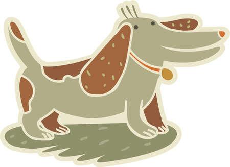 terrestrial mammals: A happy dog standing Stock Photo