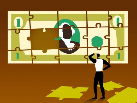 putting green: A businessman putting a puzzle together that is the shape of a dollar bill