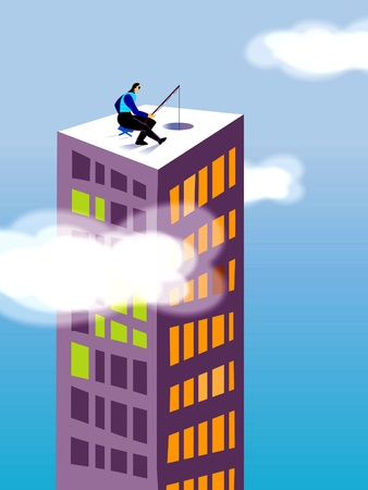 A businessman fishing on the top of a high rise building photo
