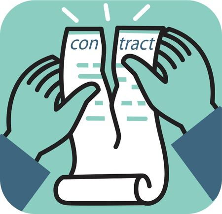 rejection: Hand tearing apart contract Stock Photo