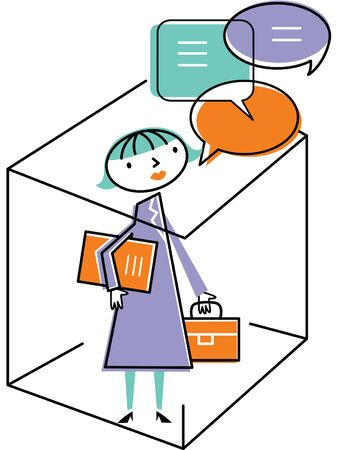 Woman in office with speech bubbles