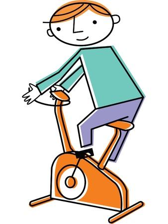 Man on exercise bike photo