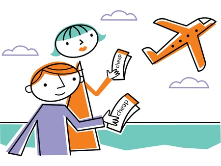 Two people holding cheap tickets and looking at departing plane