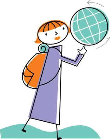 Woman spinning globe