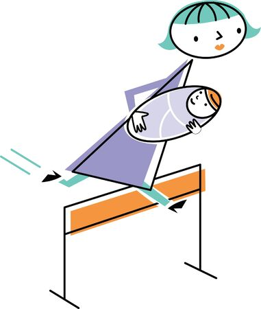 one parent: Woman carrying baby jumping over hurdle Stock Photo