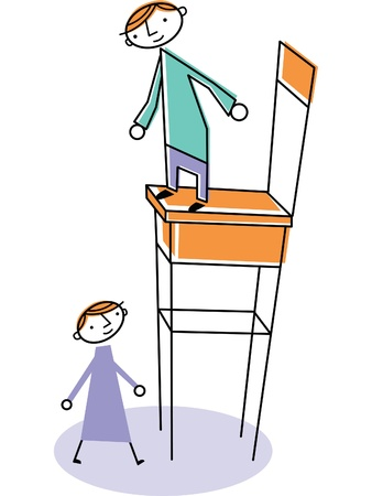 Man on high chair with woman standing below