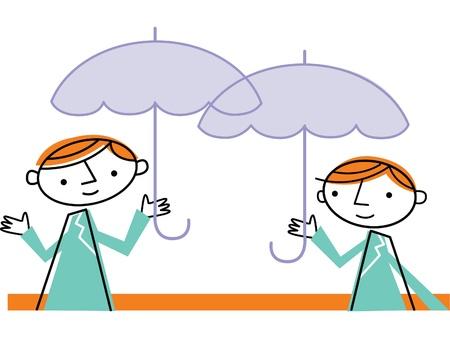 Two men with umbrellas Stok Fotoğraf