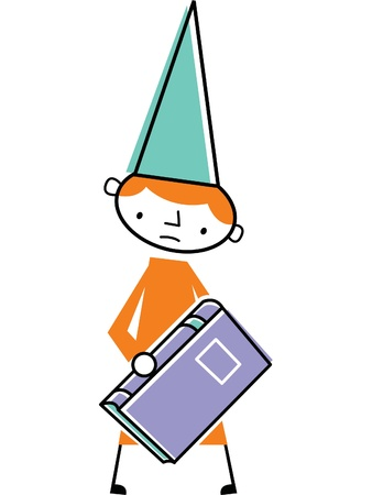 dunce cap: Man wearing dunce cap and holding book