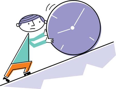 uphill: Man pushing clock uphill Stock Photo