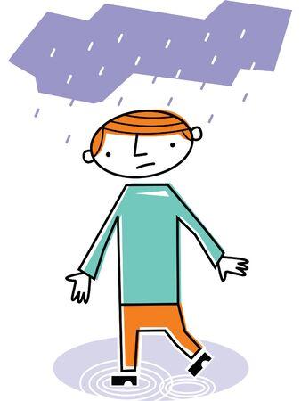 Man walking in rain Stock Photo - 14878144