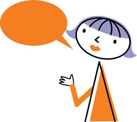 Woman with speech bubble Stok Fotoğraf