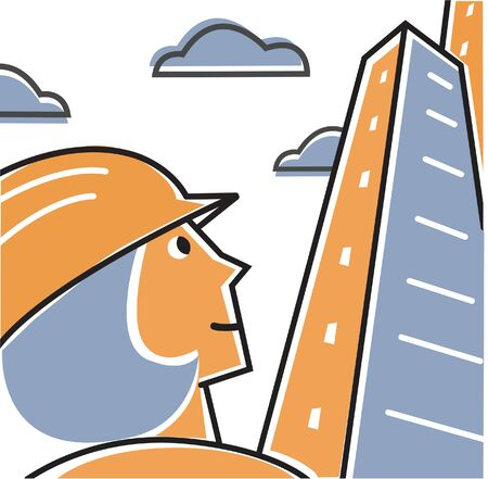 tall hat: Woman wearing hard hat looking up at tall building