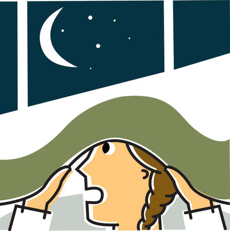 girl mouth open: Girl hiding under blanket at night