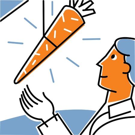 dangling: Man reaching for dangling carrot Stock Photo