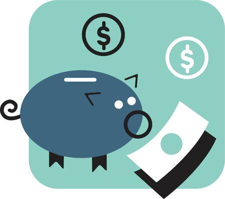 Piggy bank and money 版權商用圖片