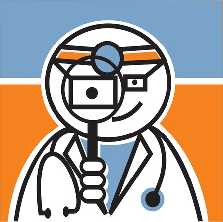 looking through an object: Doctor looking through magnifying glass Stock Photo