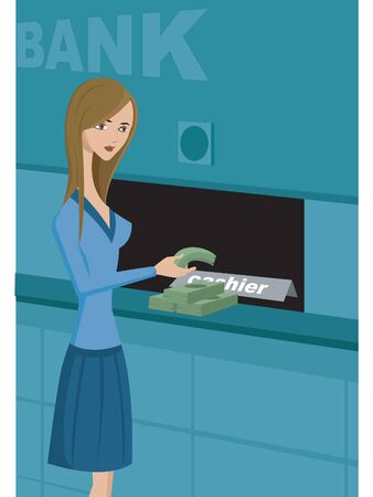 bank western: A woman taking cash from a bank Stock Photo