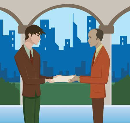 handing: A man handing over documents to another man