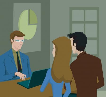 A couple having a consultation with a finance advisor