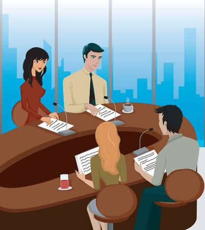 four person only: A business meeting at a round table Stock Photo