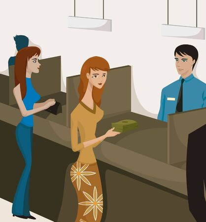 counter service: Two women at bank tellers