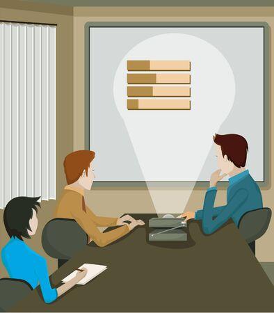 Een projectie op een zakelijke bijeenkomst Stockfoto