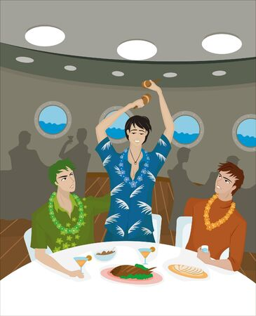 dinner cruise: Three men at a dinner table on a cruise ship