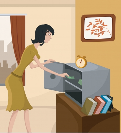 A woman putting money in a home safe photo