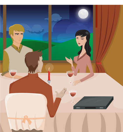 dinning table: Three people having dinner Stock Photo