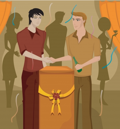 lectern: Two men shaking hands at a party Stock Photo