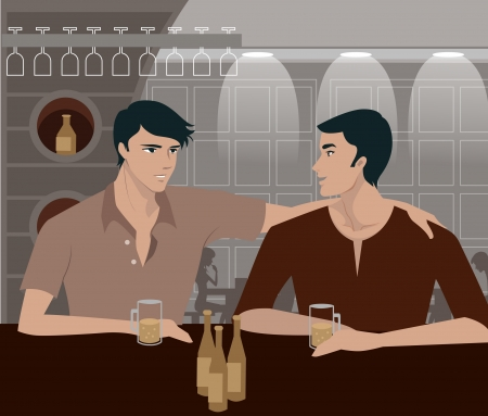 two people talking: Two men having a drink at a bar