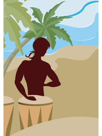 A silhouette of a man playing the bongo drums on the beach Stok Fotoğraf