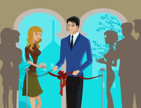 A man and woman cutting a ribbon at an opening