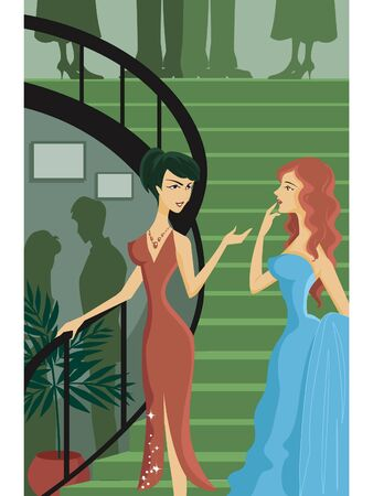 plant stand: Two women having a conversation on a staircase Stock Photo