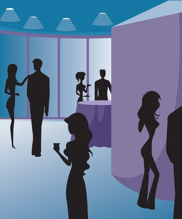 Silhouettes at a party