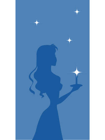 A silhouette of a woman carrying a candle