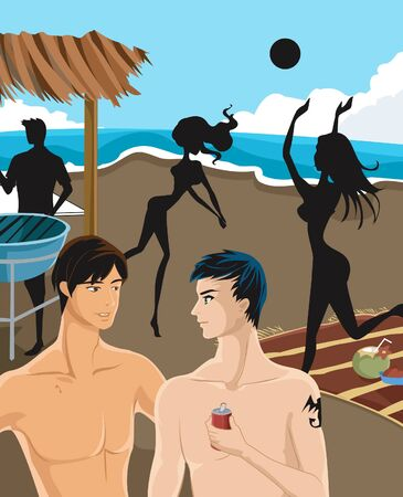 shirtless: Two men having a conversation at the beach